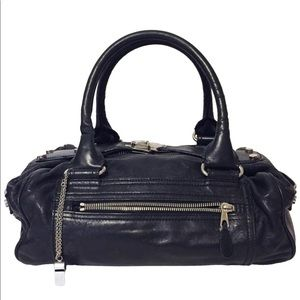 Balenciaga black leather small whistle bag